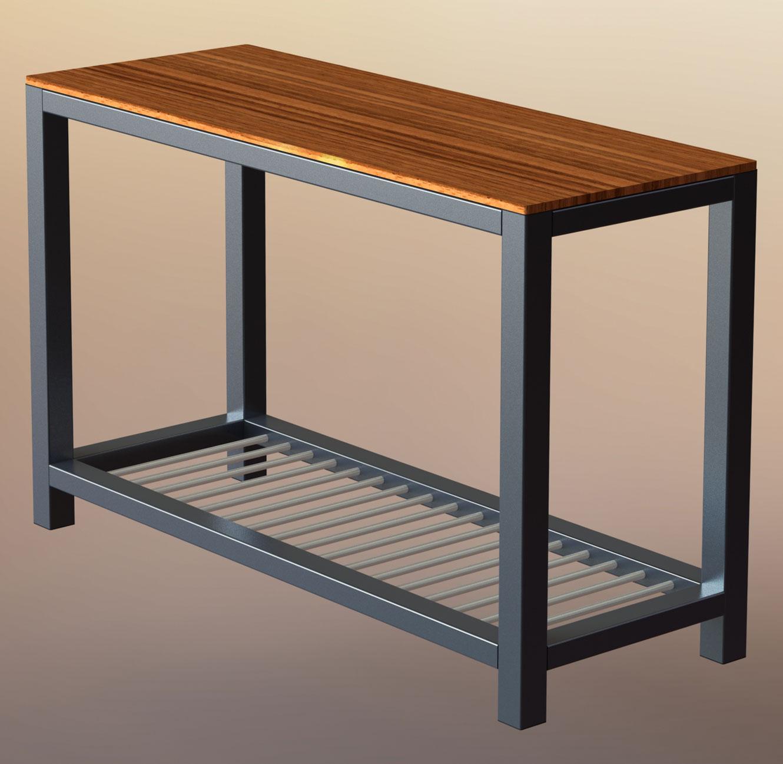 Teino Wood Metal Sofa Table With
